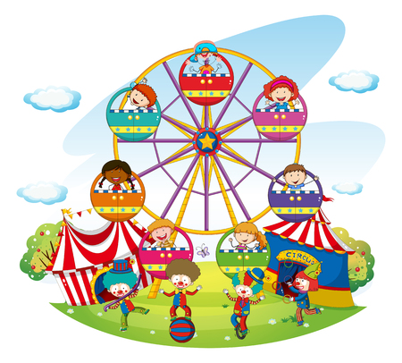 Happy kids riding on ferris wheel  illustration