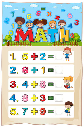 Addition worksheet template for young children illustration