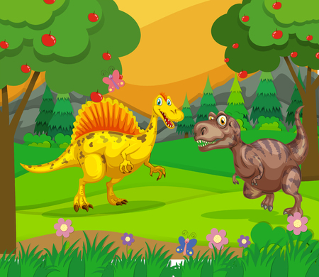 Spinosaurus and T-Rex in the field illustration