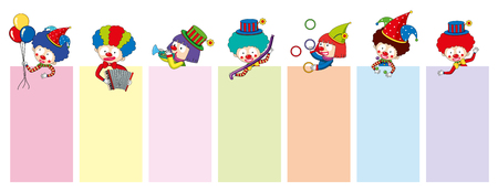Banner templates with happy clowns and tools illustration