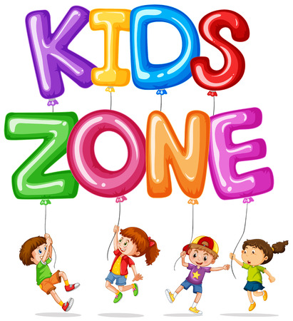 Kids zone with happy kids and balloons illustration