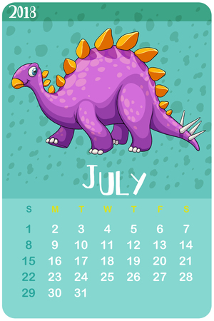 Calender template for July with stegosaurus illustration