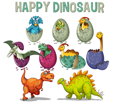 Happy dinosaur with dinosaurs hatching eggs illustration