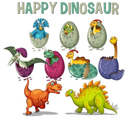Happy dinosaur with dinosaurs hatching eggs illustration