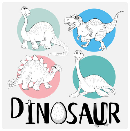 Coloring template with four dinosaurs illustration