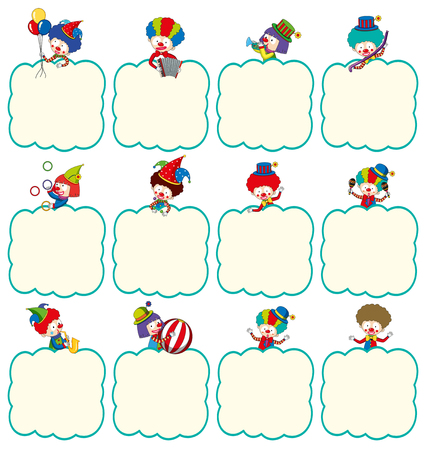 Border template with clowns in different actions illustration