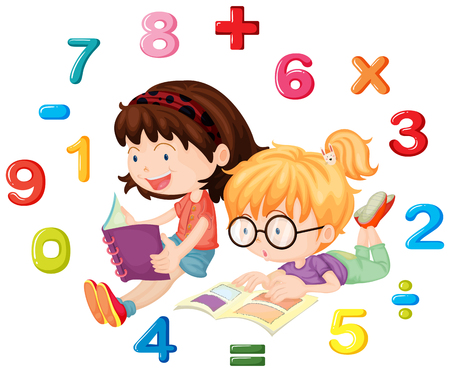 Two girls reading math book illustration