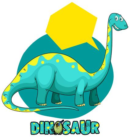 Sticker template with dinosaur brachiosaurus illustration