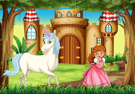 プリンセスとユニコーンイラストのシーン