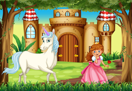 Scene with princess and unicorn illustration