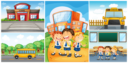 Children and different school scenes illustration Vettoriali