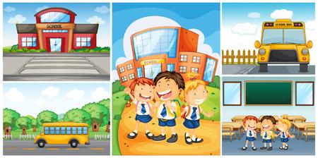 Kinderen en verschillende school scènes illustratie
