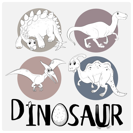 Four types of dinosaurs on white poster illustration