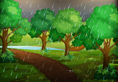 Forest scene on rainy day illustration