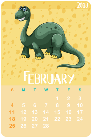 Calender template for February with brachiosaurus illustration