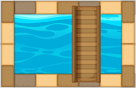 Swimming pool with wooden bridge illustration Illustration