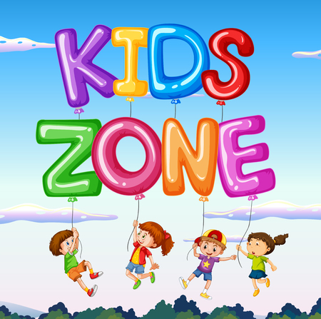 Kids zone with kids and balloon with sky background illustration Ilustração
