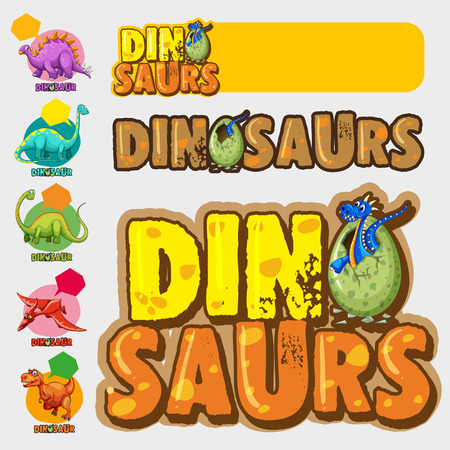 Different designs with many dinosaurs illustration