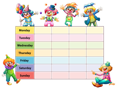 Table of seven days of the week with happy clowns illustration