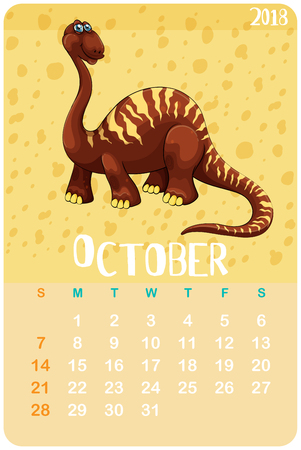 Calendar template with dinosaur for October illustration