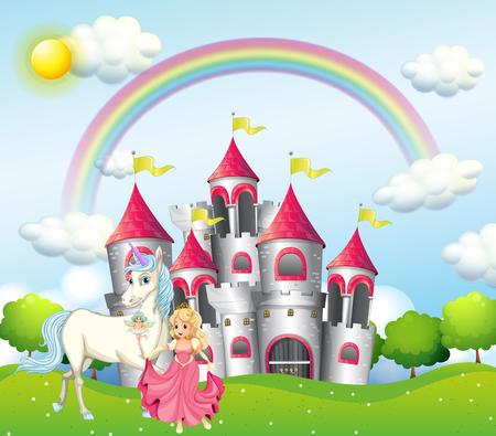 Escena de fondo con la princesa y el unicornio en la ilustración del castillo rosa Foto de archivo - 93146901