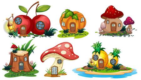 Mushroom and fruit houses illustration Stock Illustratie