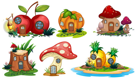 Mushroom and fruit houses illustration Vectores