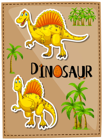 Poster design with two spinosaurus illustration
