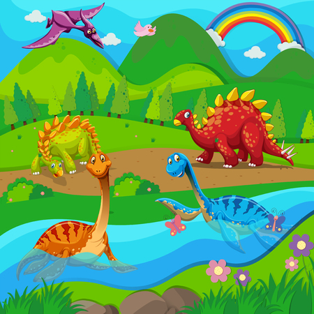 Background scene with dinosaurs by the river illustration Illustration
