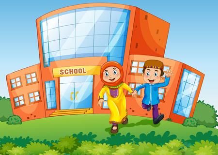 School scene with two muslim kids illustration