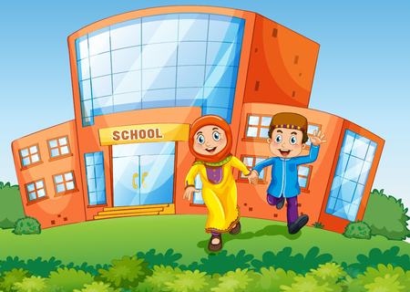 School scene with two muslim kids illustration