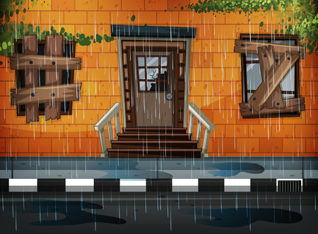 Old building and rainy day illustration Çizim