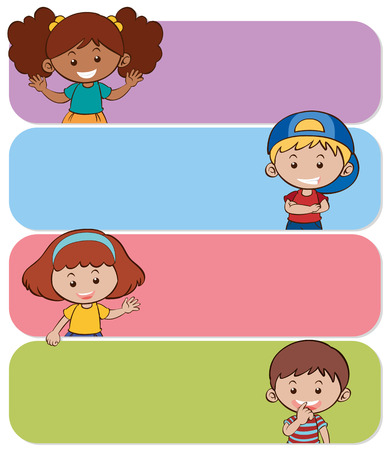 Four banners with happy kids illustration Illustration