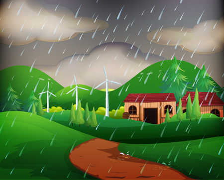 Scene with houses in the rain illustration Vectores