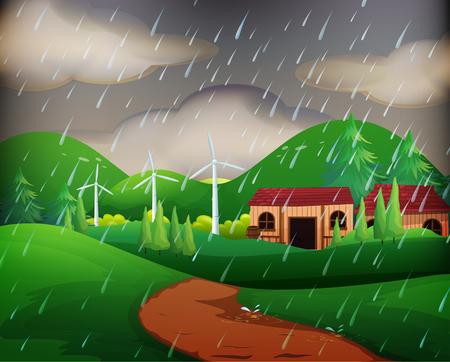 Scene with houses in the rain illustration Illustration