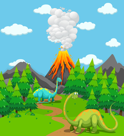 Two dinosaurs and volcano eruption illustration
