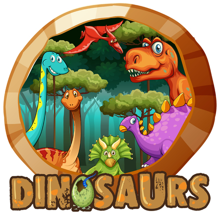 Sticker design with many dinosaurs in forest illustration Stock Vector - 93147235