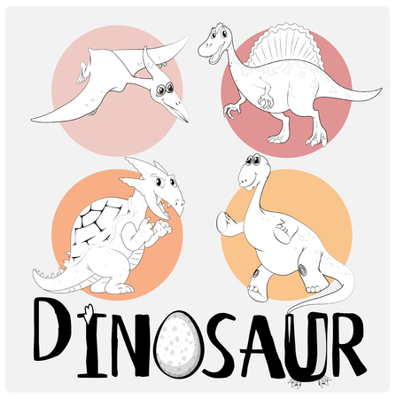 Four types of dinosaurs on round badge illustration Illustration