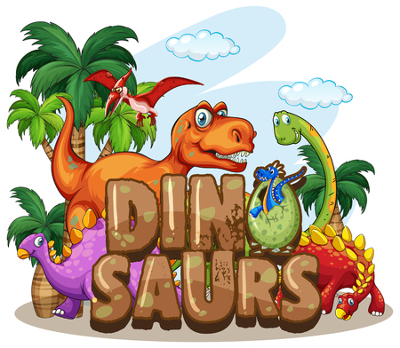 Dinosaur world design with many dinosaurs illustration