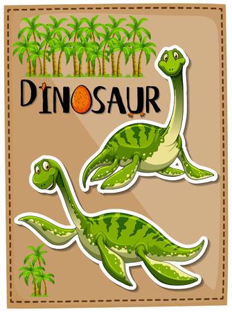 Green dinosaur with happy face illustration Illustration
