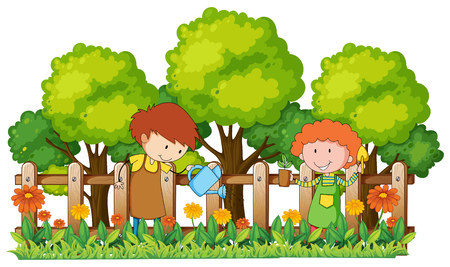 庭のイラストで水やりや植栽する人々