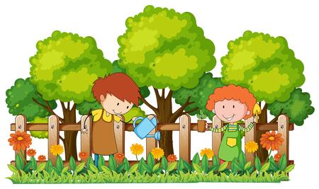 les gens arrosage et plantation dans le jardin illustration Vecteurs