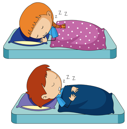 Boy and girl sleeping on bed illustration 일러스트