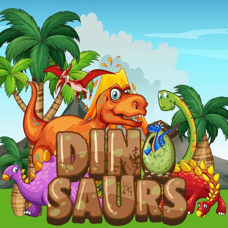 escena con dinosaurios en la ilustración del parque
