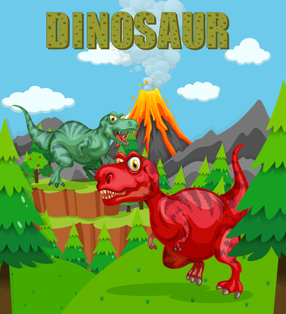 Dinosaur poster with two t-rex in the field illustration Illustration