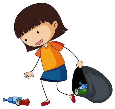 Little girl picking up trash illustration