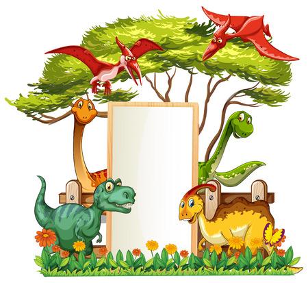 庭のイラストで多くの恐竜とバナーテンプレート