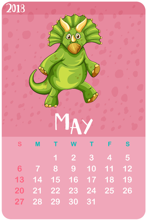 Calendar template for May with triceratops illustration