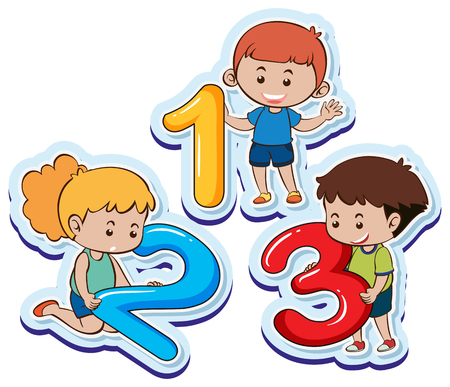 Happy children with number one two three illustration Stock Illustratie