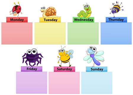 Plantilla de banner de días de la semana con la ilustración de coloridos errores Ilustración de vector